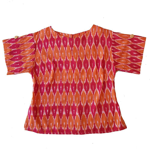 Dragstar Right Box Top - Mandarin & Crimson Tricolour Ethical womens fashion made in Sydney 100% cotton fair trade ikat