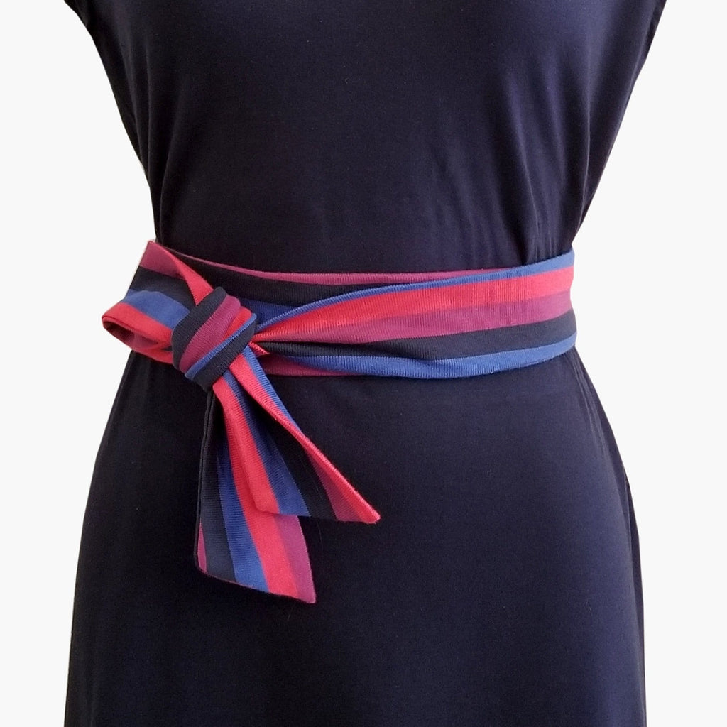 Striped Tie Belt - Purple, Red & Blue