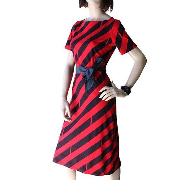 Dragstar Boatneck Go To Dress in Diagonal Print Dragstar Ethical womens fashion made in Sydney