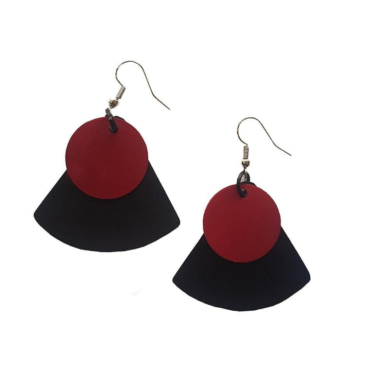 Monica Tricir Earrings Black with Red