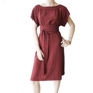 Dragstar Fancy Dress with Obi Belt- Terracotta textured cotton Ethical womens clothing made in Australia