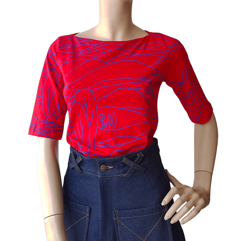 Dragstar Boatneck 3/4 Tee - Blue on Red Linescape