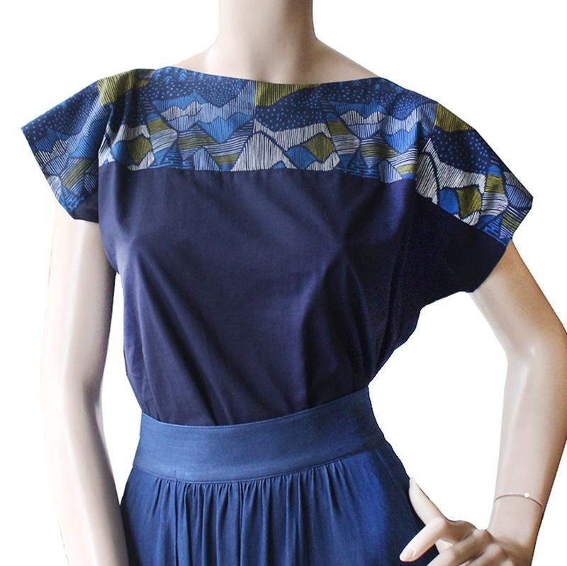 Cotton Navy Two Tone Top Dragstar Ethical womens fashion made in Sydney