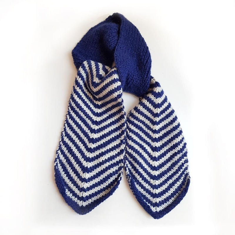 Hand Knitted Cravat Scarf - Navy & White