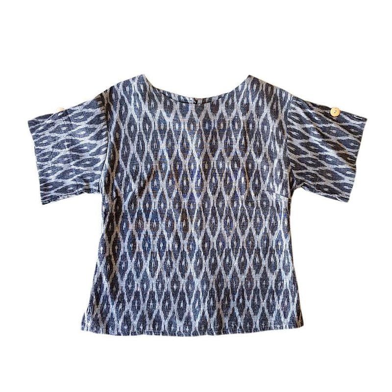 Dragstar Right Box Top - slate Ethical womens fashion made in Sydney 100% cotton fair trade ikat