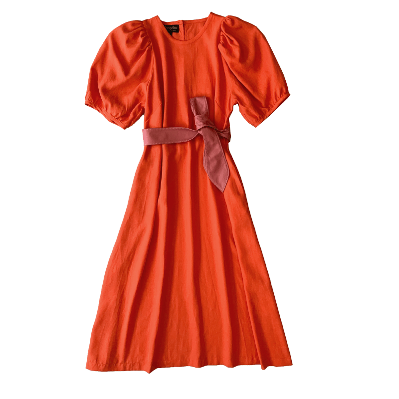 Dragstar Trapeze Dress - burnt orange 100% tencel Ethical womens fashion made in Sydney Australia