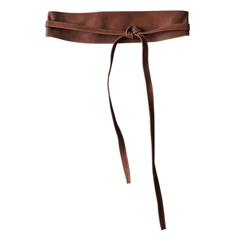 Dragstar Leather Double Tie Belt - Dark Tan