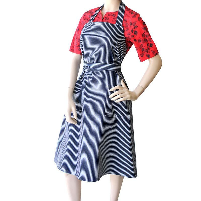 Dragstar Wrap around Apron Dress in Navy and White Striped Denim Ethical womens fashion Slow Fashion made in Sydney Australia