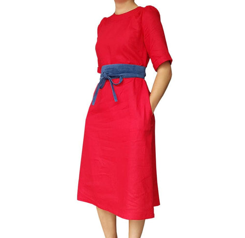 Dragstar Rolled Cuff Dress - red cotton linen blendEthical womens fashion made in Sydney