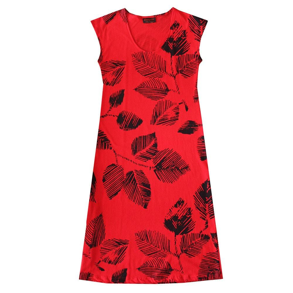 All too Easy Dress - Leaf Print Red