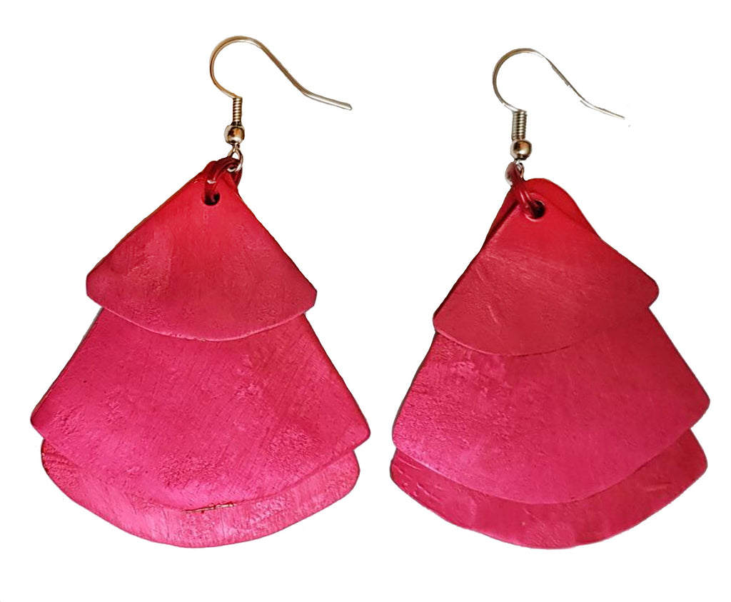Monica Fan Earrings - Red