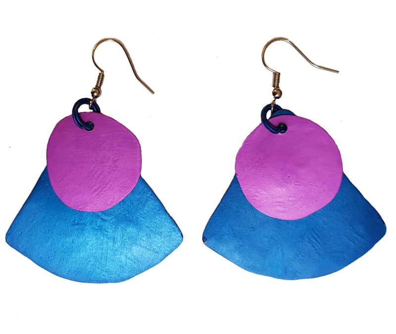 Monica Two Tone Fan Earring - Purple on Blue