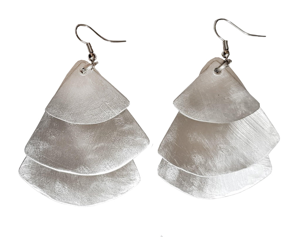 Monica Fan Earrings - Silver
