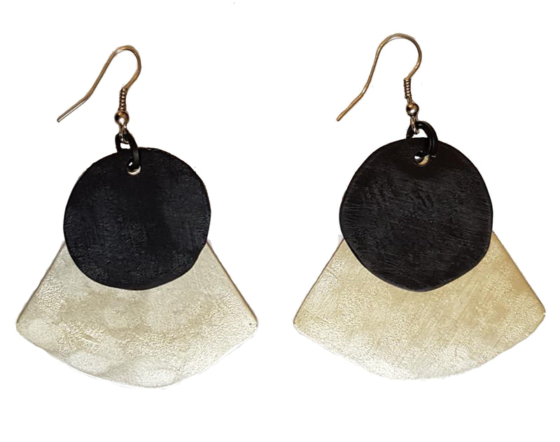 Monica Two Tone Fan Earrings - Black on White Gold