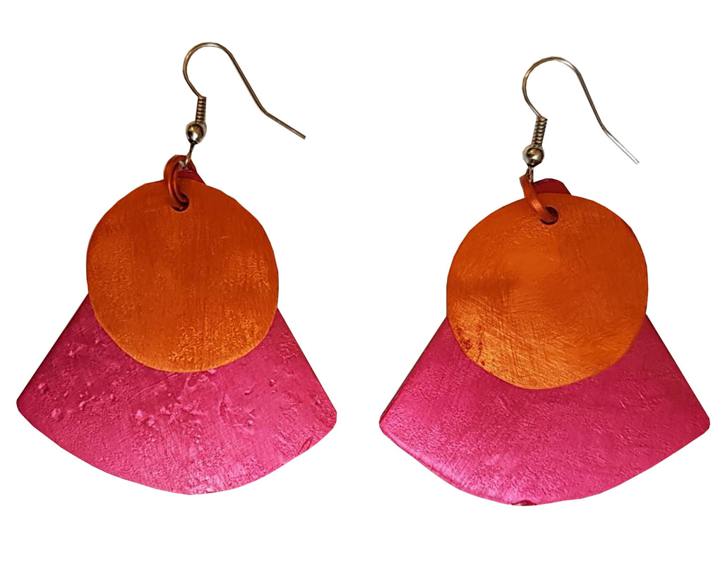Monica Two Tone Earring - Orange on Red