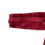 Leather Double Tie Belt - Burgundy Suede