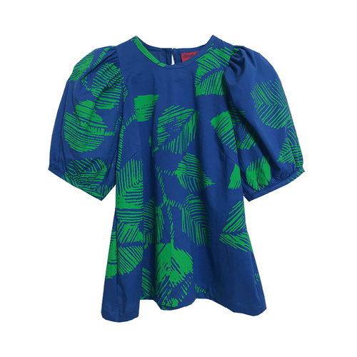 Dragstar Trapeze Top - Green Leaf on Blue