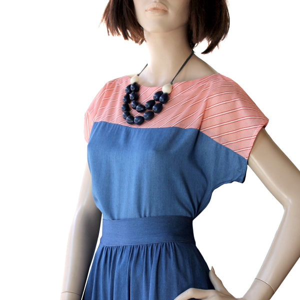 Two Tone Top - Navy and Red Stripe