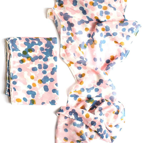 Hand printed Confetti Scarf Pink by Tinker - Square