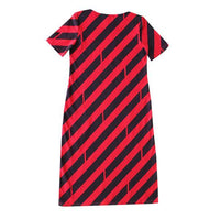 Dragstar Boatneck Go To Dress in Diagonal Print