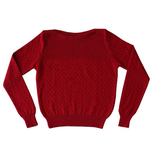 Dragstar merino Boatneck Zig-Zag Jumper - Red