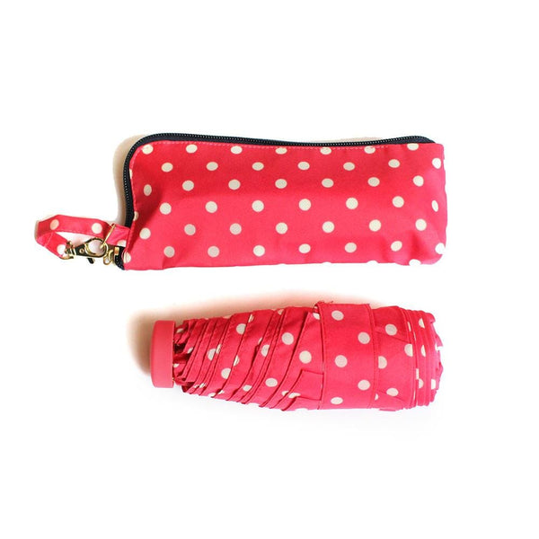 Pocket Umbrella and Case - Pink and White Spots