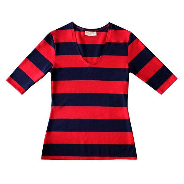 Navy and Red Stripe Top