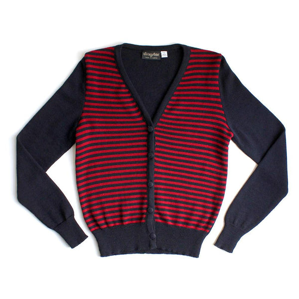Red / Blue striped merino wool Cardigan