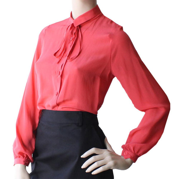 Bacall Blouse - Coral Silk