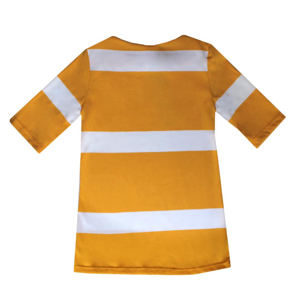 Boatneck Tee - Yellow and White Stripe