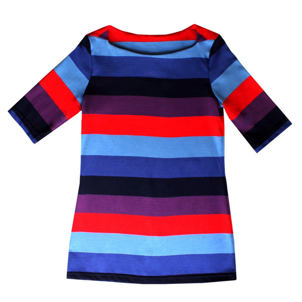 Boatneck Tee - Purple, Blue, & Red Stripe