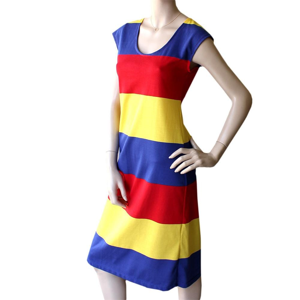 all too easy primary colour striped cotton jersey navy dress made in Sydney Australia Dragsta