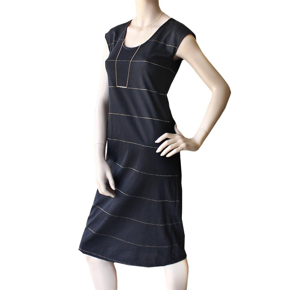 All Too Easy Dress - Black w Lurex Stripe