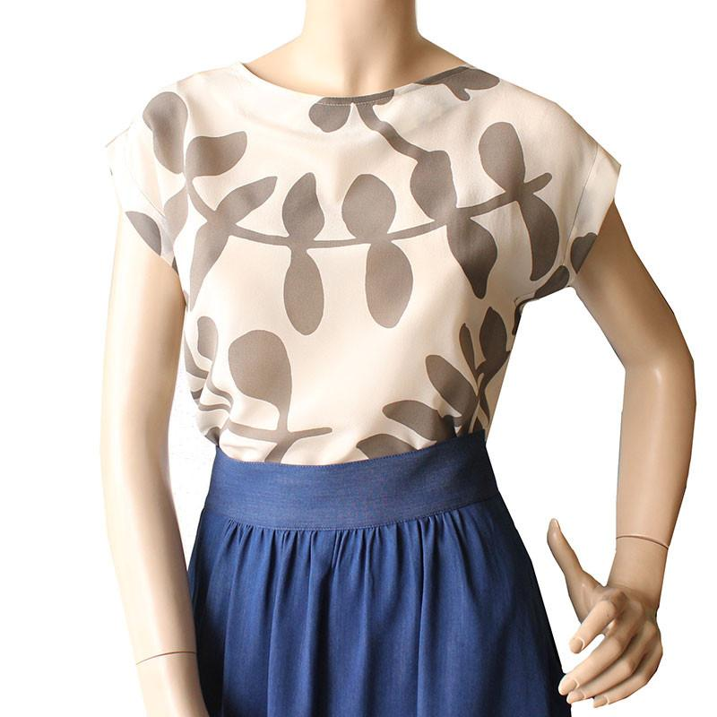 Classic Summertime Boatneck Top - Branch Print