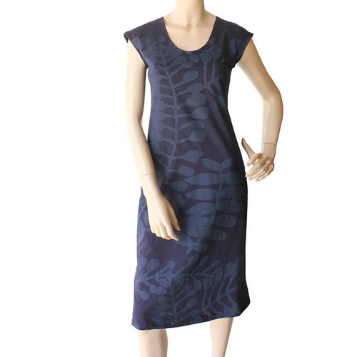 all too easy cotton jersey branch print navy dress made in sydney australia Dragstar