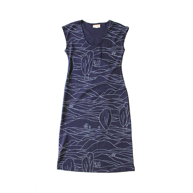 All Too Easy Dress - Linescape Navy
