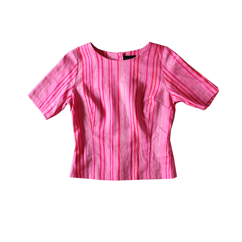 CUTE AS A BUTTON TOP Pink Stripe