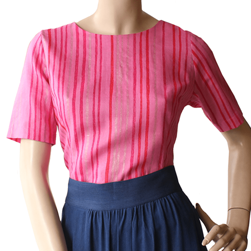 CUTE AS A BUTTON TOP Pink Stripe Dragstar Ethical womens fashion made in Sydney