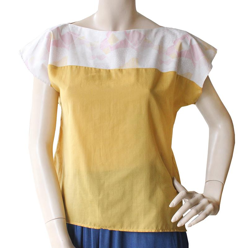 Cotton Mustard and Pink Two Tone Top