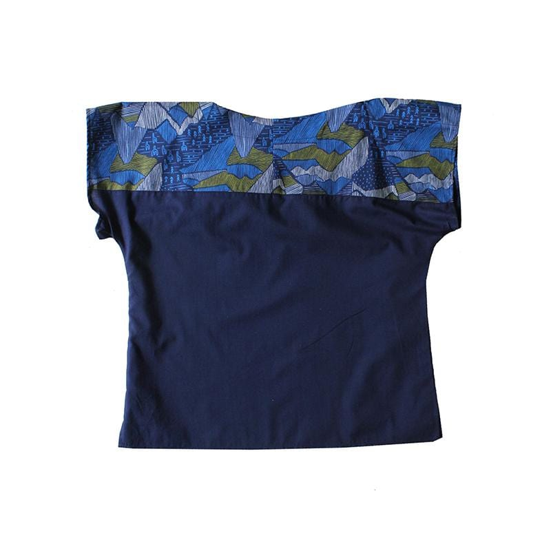 Cotton Navy Two Tone Top