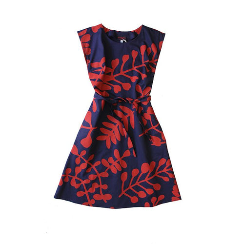 Dragstar Saskia Dress - Red Leaf Print on Navy Cotton Hand made Womens Ethical fashion made in Sydney