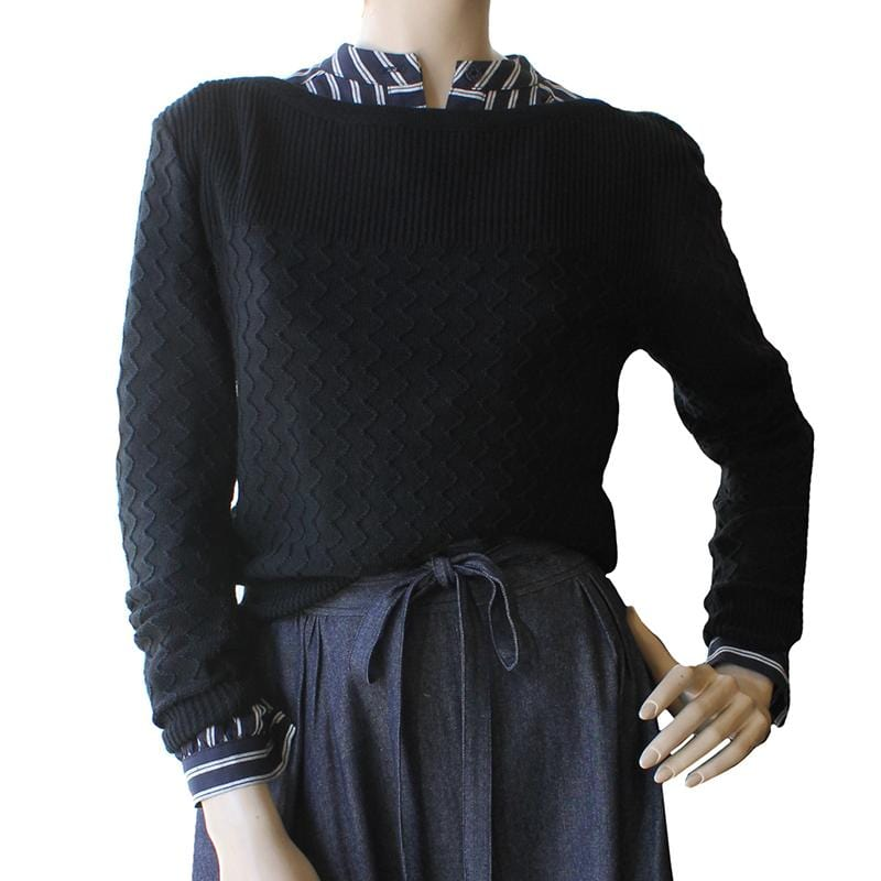 Boatneck Zig-Zag Jumper - Black 100% merino wool Dragstar Ethical womens fashion made in Sydney