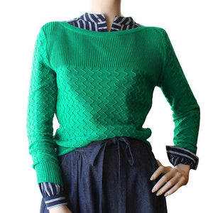 Dragstar is ethical womens fashion made is Sydney Boatneck Zig-Zag Jumper Emerald