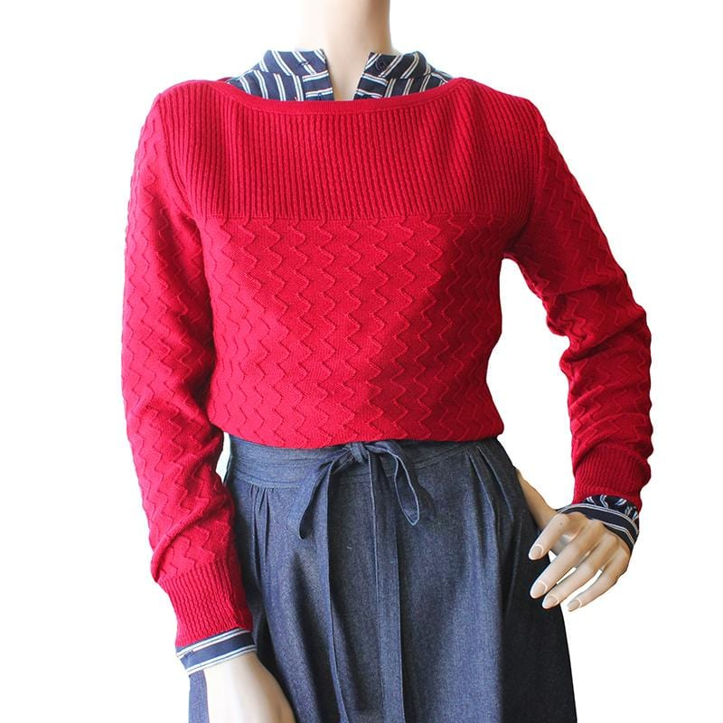 Boatneck Zig-Zag Jumper - Red Dragstar Ethical womens fashion made in Sydney
