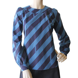 Dragstar Long Sleeved Cotton Smock Top - Diagonal Striped print Ethical Womens Fashion made in Sydney Australia