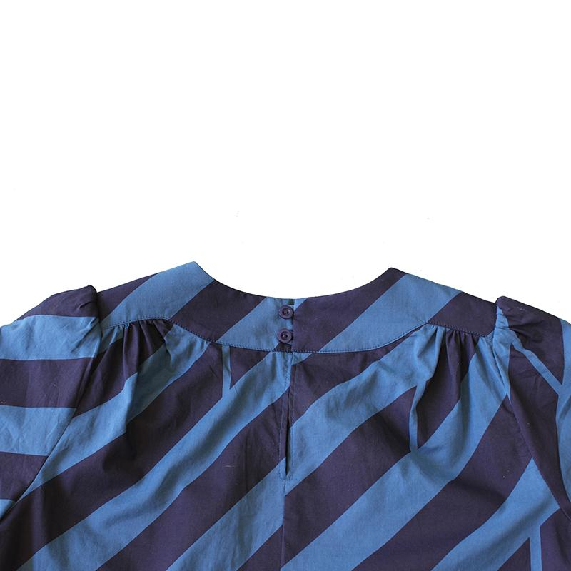 Dragstar Long Sleeved Cotton Smock Top - Diagonal Striped print
