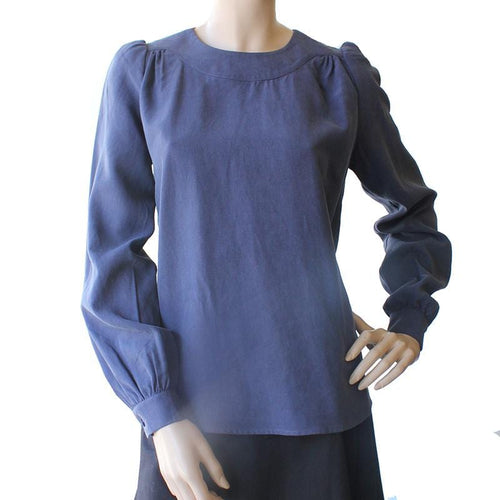 Dragstar Long Sleeve Smock Top - Blue tencel Ethical Womens fashion made in Sydney Australia