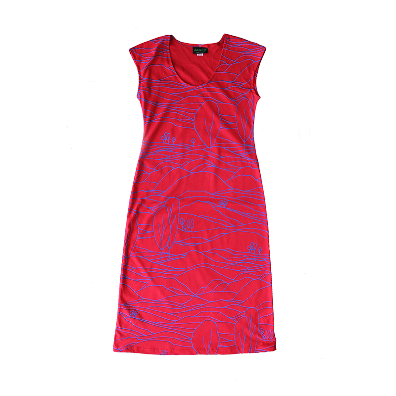All Too Easy Dress - Blue/Red Linescape