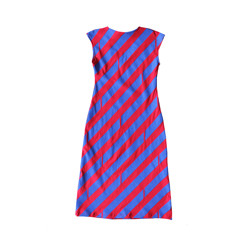 All Too Easy Dress - Diagonal Royal/Red