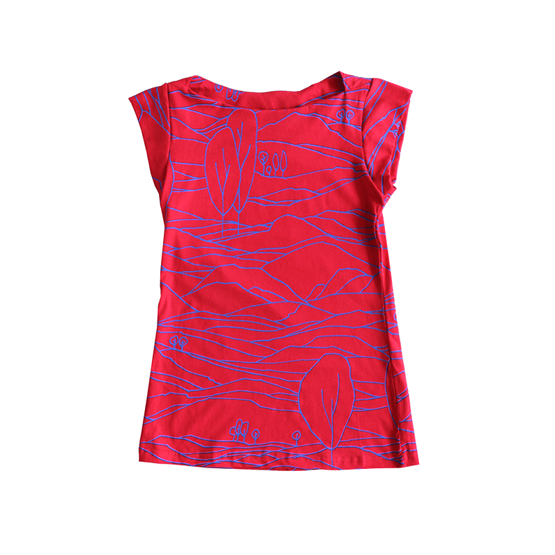 Dragstar Captain Tee - Red/Blue Linescape